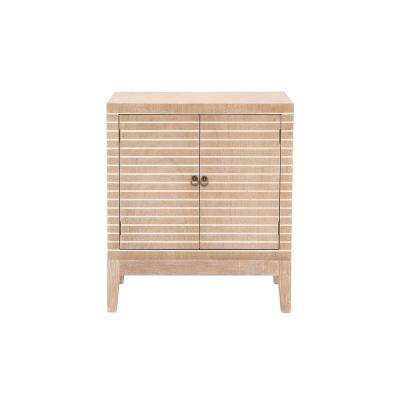 Rustic Brown Wooden Cabinet with White Stripes