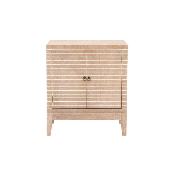 Litton Lane Rustic Brown Wooden Cabinet with White Stripes 60145