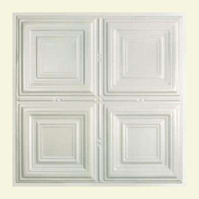 Syracuse 2 ft. x 2 ft. Lay-in Tin Ceiling Tile in Gloss White