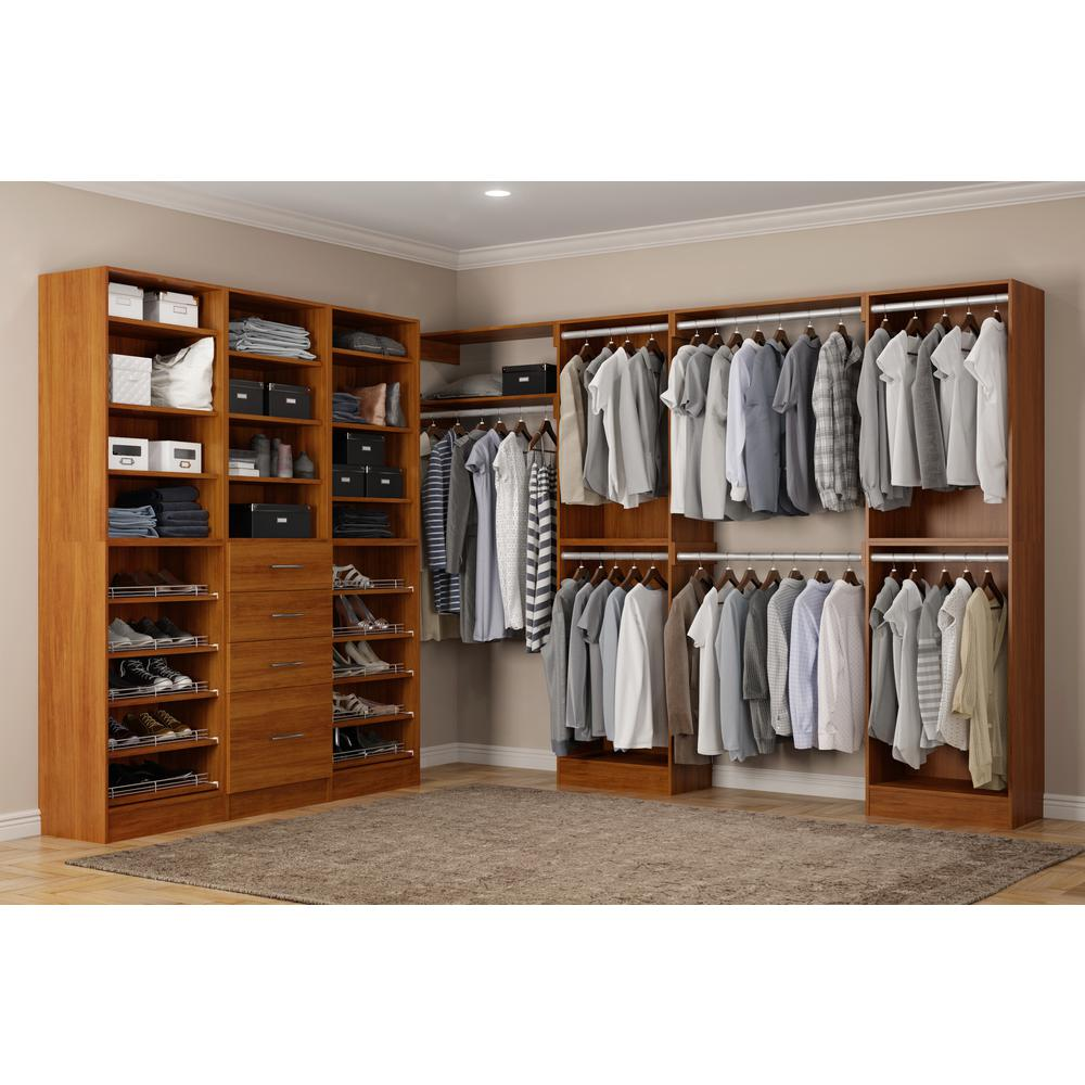 Red Wood Closet System Calabria Storage Cabinets