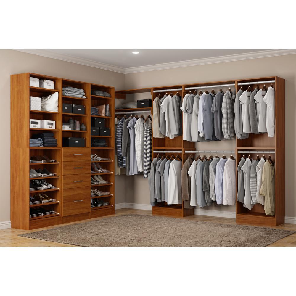 Calabria Walk In 15 in. D x 243 in. W x 84 in. H Cognac Wood Closet System