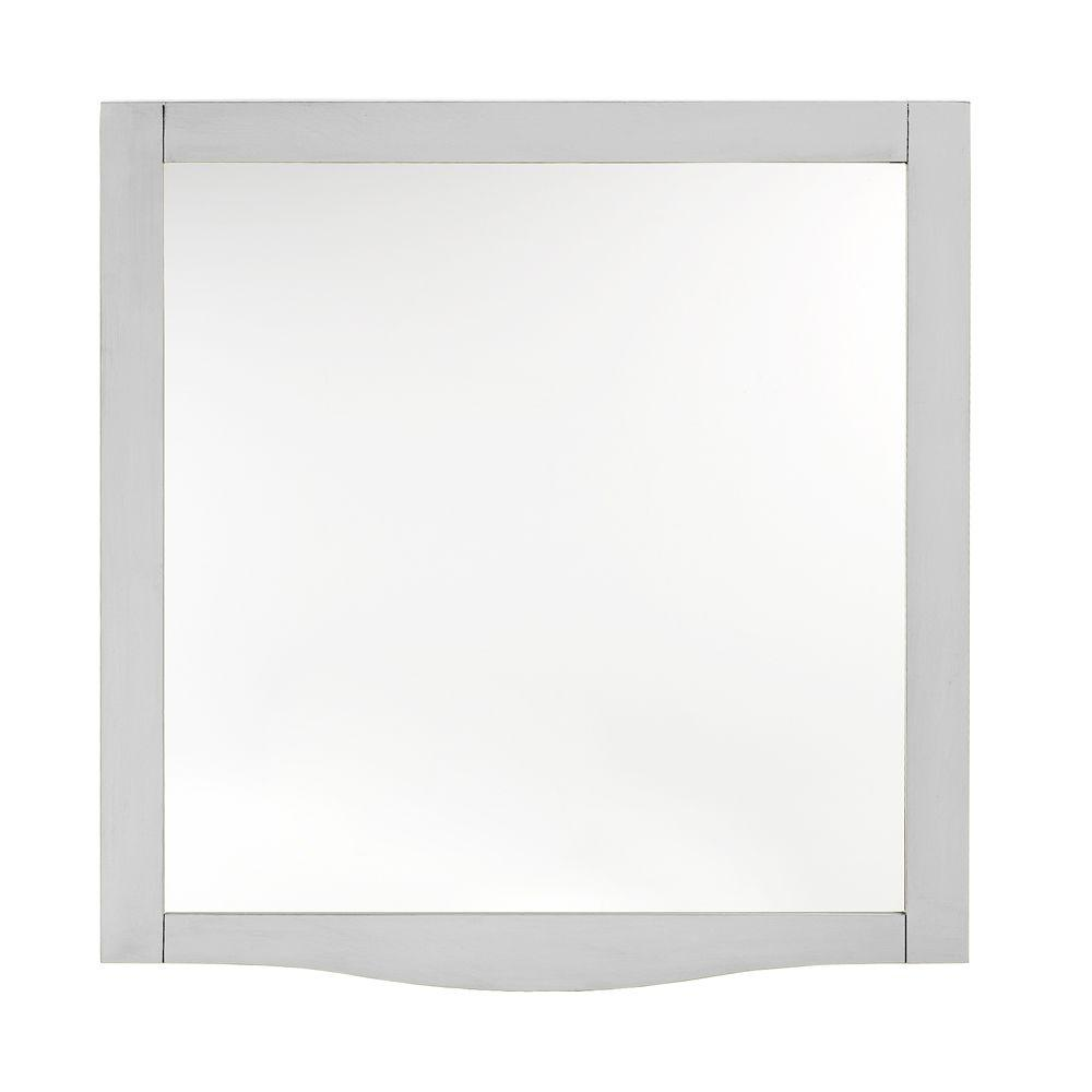 Home Decorators Collection Savoy 32 in. L x 30 in. W Beveled Framed Mirror in Ivory