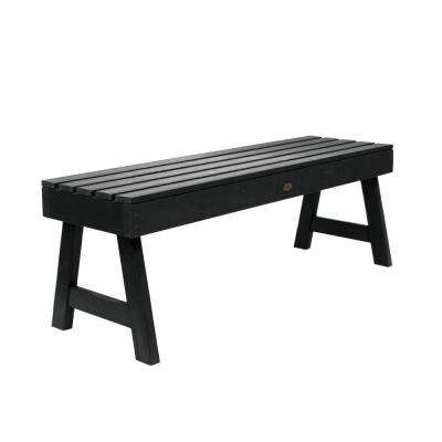 Weatherly 48 in. 2-Person Black Recycled Plastic Outdoor Picnic Bench