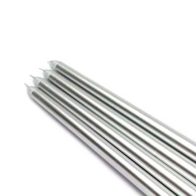 12 in. Metallic Silver Taper Candles (12-Set)