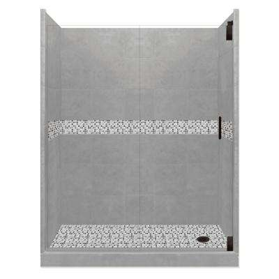Del Mar Grand Hinged 32 in. x 60 in. x 80 in. Right Drain Alcove Shower Kit in Wet Cement and Black Pipe Hardware