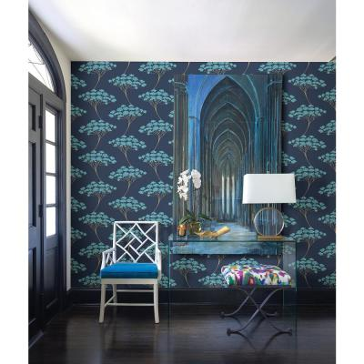 Banyan Navy Tree Paper Strippable Roll Wallpaper (Covers 56.4 sq. ft.)