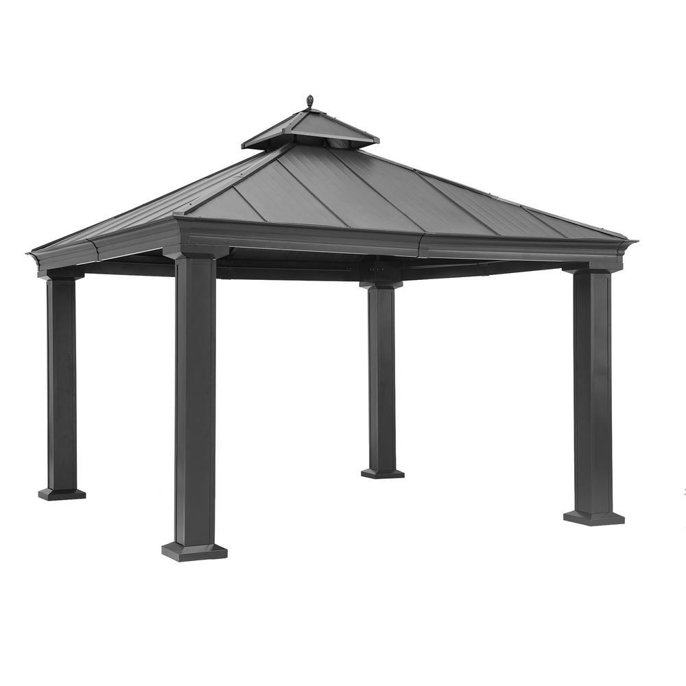 Sunjoy Vesper 12 Ft X 12 Ft Black Aluminum And Steel Gazebo With 2 Tier Black Steel Roof Hardtop A102009300 The Home Depot