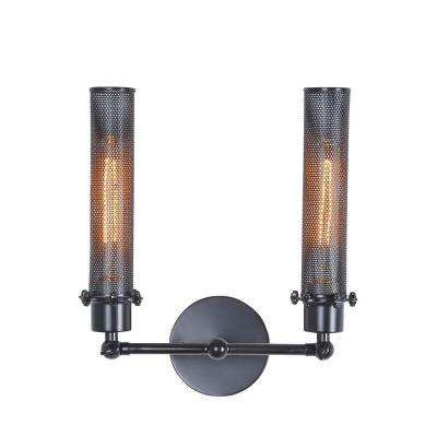 Nelson 2-Light Black Wall Sconce