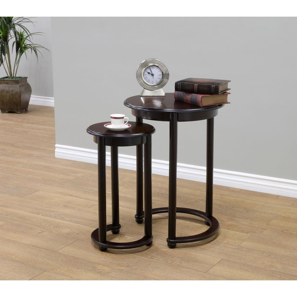 MegaHome Cherry 2 Piece Nesting End Table