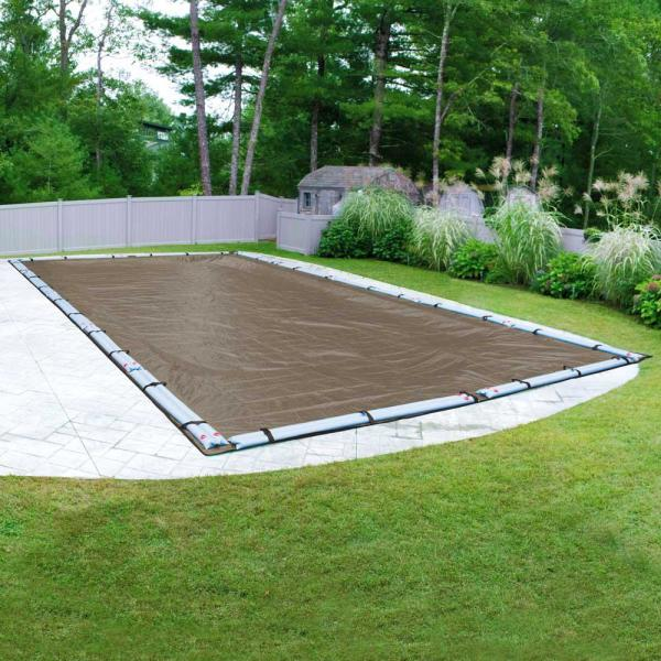 Premium Mesh XL 12 ft. x 24 ft. Rectangular Taupe and Black Mesh In-Ground Winter Pool Cover
