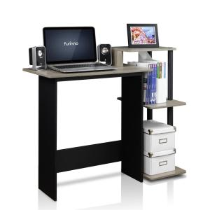 Furinno Efficient French Oak Grey And Black Home Computer Desk