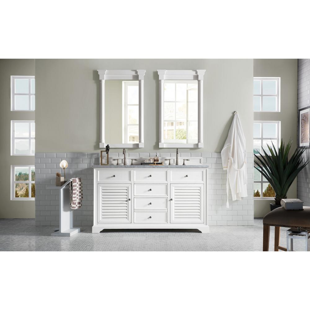 James Martin Vanities Double Bath Vanity Cottage Marble Vanity Top Carrara Basin 3593