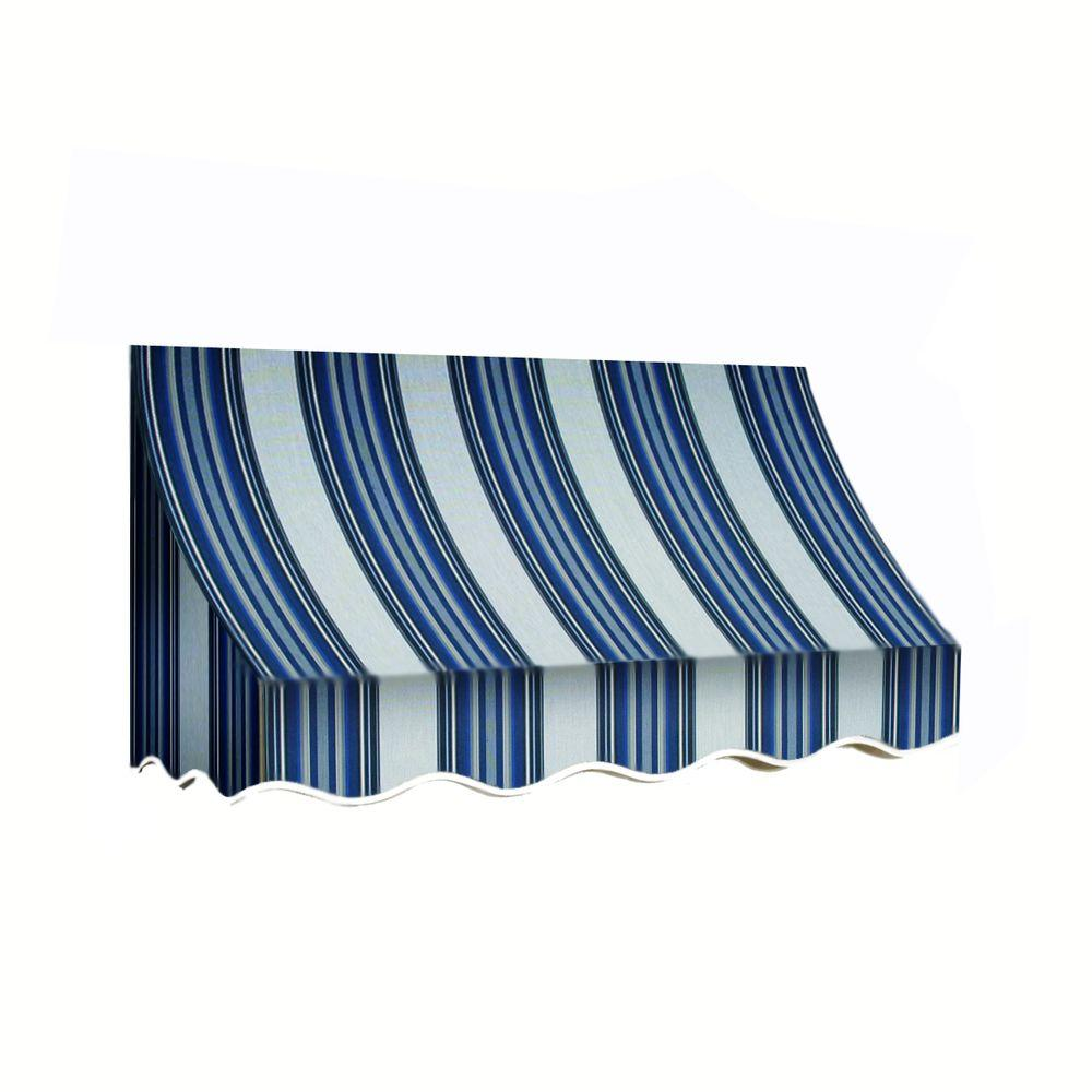 AWNTECH 12 ft. Nantucket Window/Entry Awning (44 in. H x 36 in. D) in Navy/Gray/White Stripe