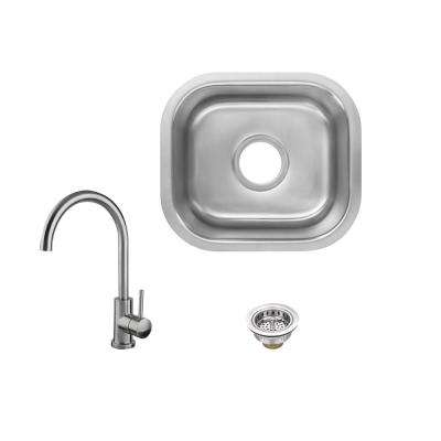 All-in-1 Undermount 18-Gauge Stainless Steel 15 in. 0-Hole Single Bowl Bar Sink with Gooseneck Kitchen Faucet