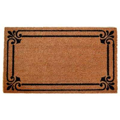 PVC Backed Coir Mat, Frame Border, 30 in. x 18 in. Natural Coconut Husk Doormat