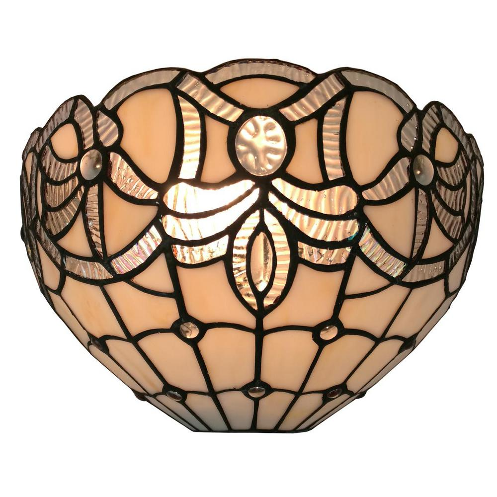 Amora Lighting 1 Light White Tiffany Style Wall Sconce Am280wl12 The Home Depot