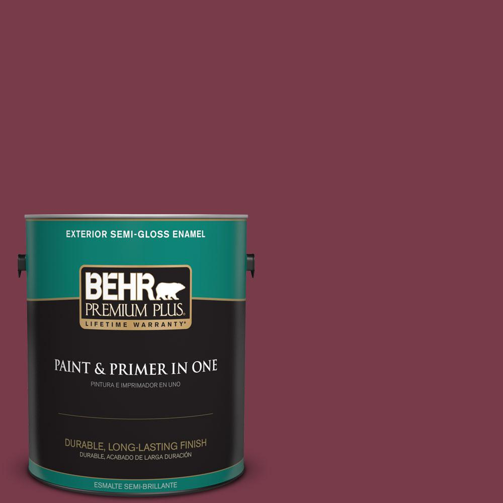 BEHR Premium Plus 1-gal. #BIC-51 July Ruby Semi-Gloss Enamel Exterior Paint
