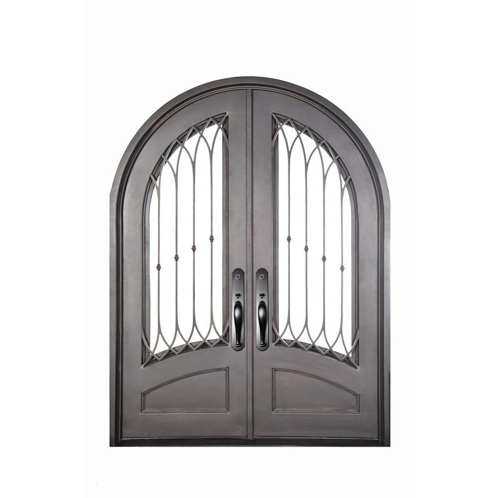 Iron Doors Unlimited 74 in. x 98 in. Concord Classic 3/4 Lite Painted Oil Rubbed Bronze Clear Wrought Iron Prehung Front Door