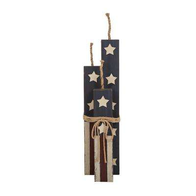 24 in. H Patriotic Wooden Standing Firecrackers Decor