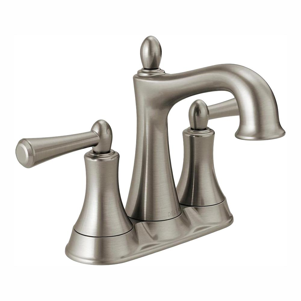 Delta Rila 4 in. Centerset 2-Handle Bathroom Faucet in SpotShield Brushed  Nickel