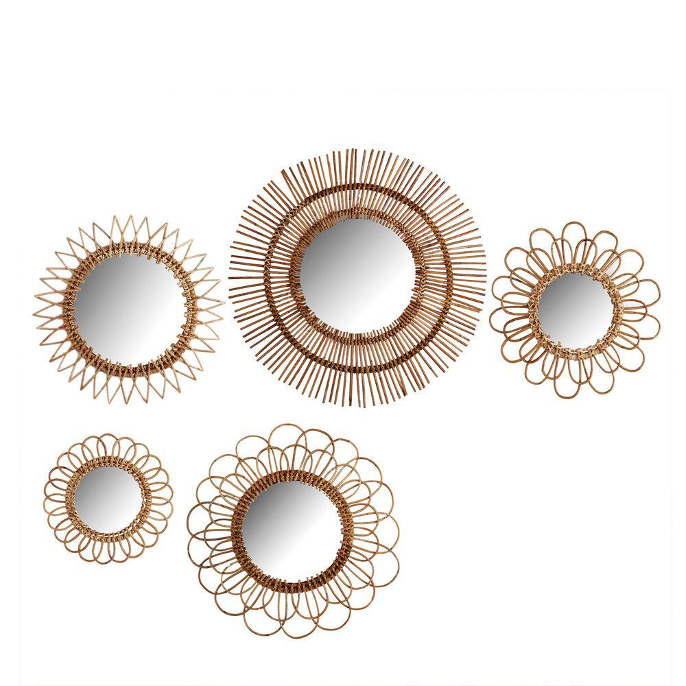 Two's Company Natural Round Rattan Decorative Wall Mirror ...
