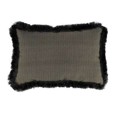 Sunbrella 9 in. x 22 in. Surge Charcoal Lumbar Outdoor Pillow with Black Fringe