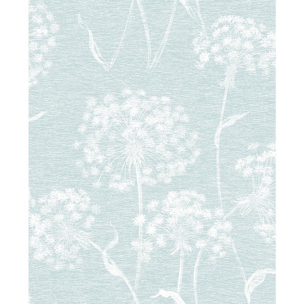 56.4 sq. ft. Carolyn Light Blue Dandelion Wallpaper