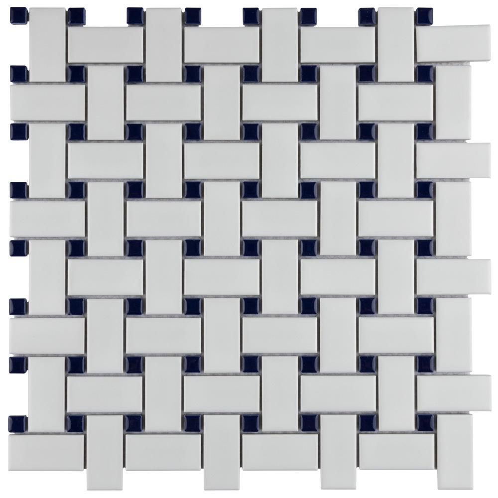 Metro Basketweave Matte White with Cobalt Dot 11-3/4 in. x 11-3/4 in. Porcelain Mosaic Tile (19.58 sq. ft./Case)