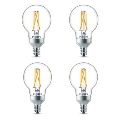 60-Watt Equivalent G16.5 Dimmable with Warm Glow Dimming Effect LED Candelabra Base Light Bulb Soft White Globe (4-Pack)