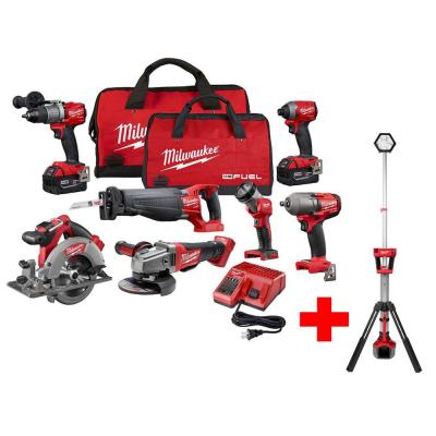 M18 FUEL 18-Volt Lithium-Ion Brushless Cordless Combo Kit (7-Tool) with Free M18 Rocket Dual Power Tower Light