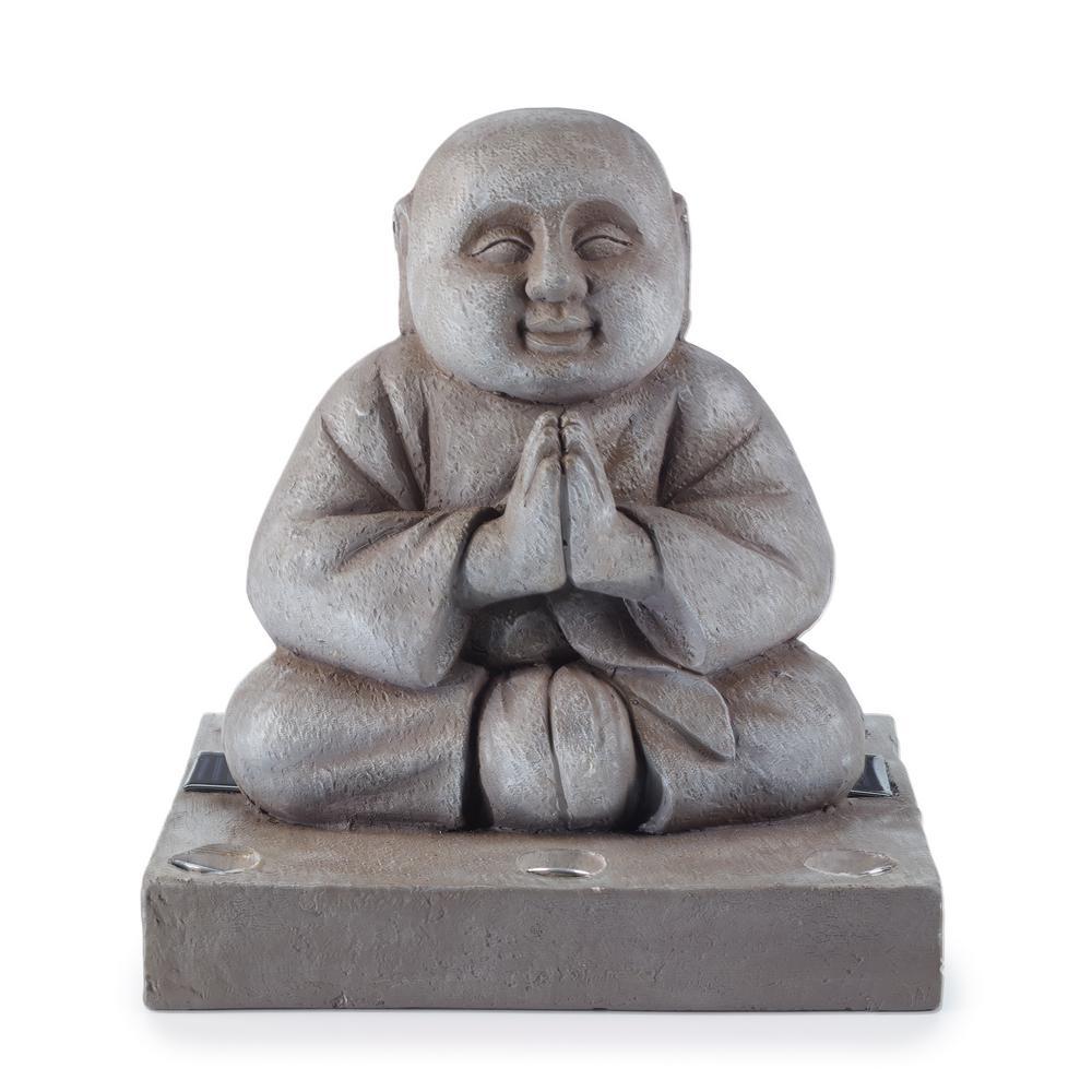 14.1 in. H Solar Buddha Statue