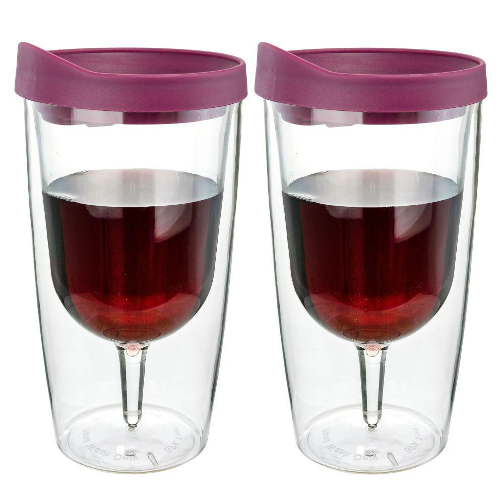 2-Piece Merlot Red 10 oz. Double Wall Acrylic Insulated Wine Tumbler
