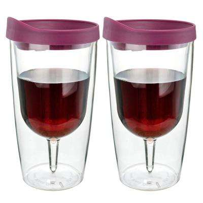 2-Piece Merlot Red 10 oz. Double Wall Acrylic Insulated Wine Tumbler Set