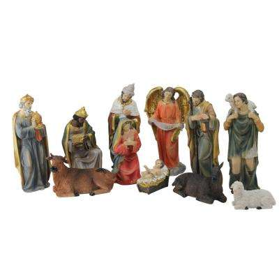8 in. Multi-Colored Resin Nativity and Epiphany Set (11-Piece)