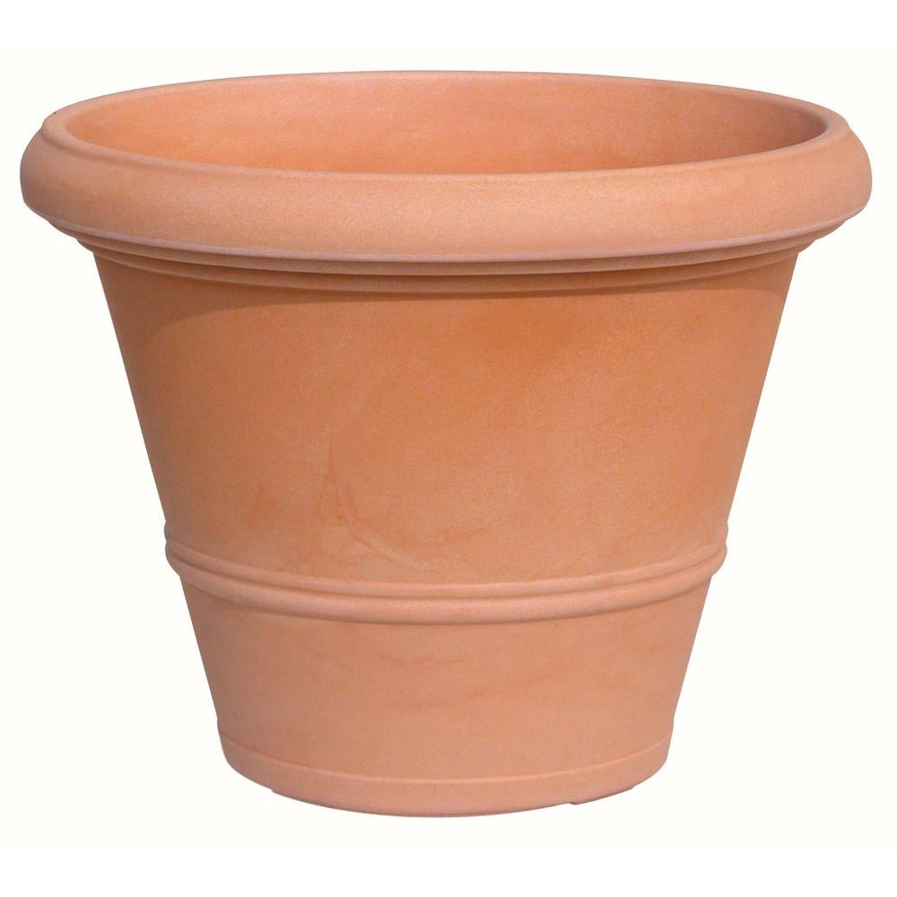 15.75 in. Dia Terra Cotta Plastic Round Planter Pot