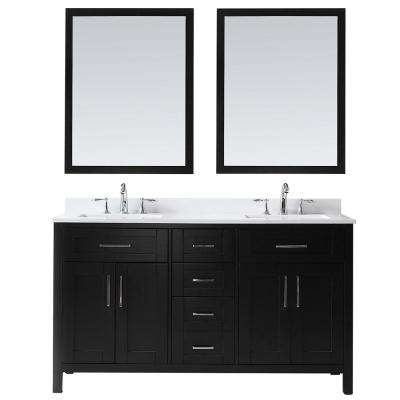 Wexford 60 in. W Vanity in Espresso with Cultured Marble Vanity Top in White with White Basin and Mirrors