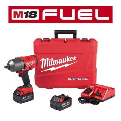 M18 FUEL 18-Volt Lithium-Ion Brushless Cordless 1/2 in. Impact Wrench W/ Friction Ring Kit With Two 5.0 Ah Batteries