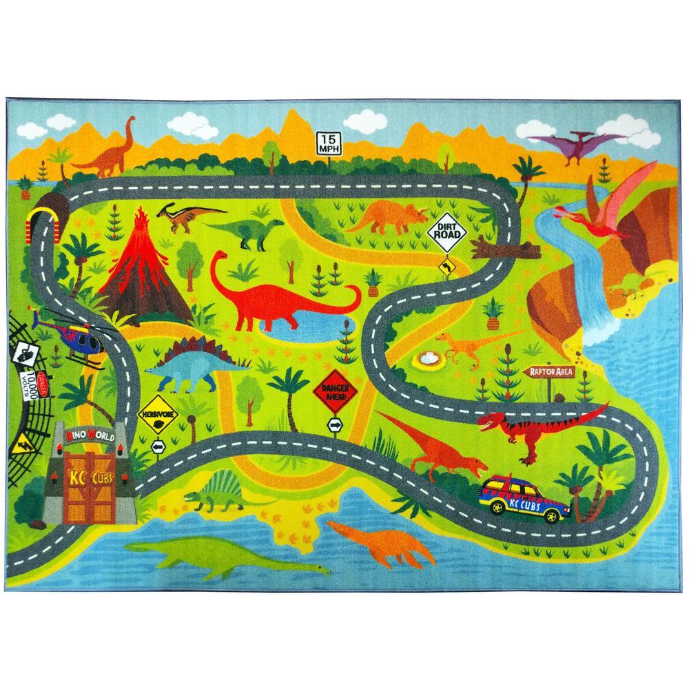 KC CUBS Multi-Color Kids Children Bedroom Dinosaur Dino Safari Road Map  Educational Learning Game 5 ft. x 7 ft. Area Rug