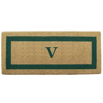 Single Picture Frame Green 24 in. x 57 in. Heavy Duty Coir Monogrammed V Door Mat