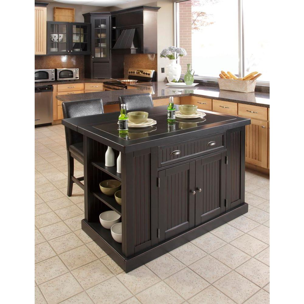 Bon Home Styles Nantucket Black Kitchen Island With Seating