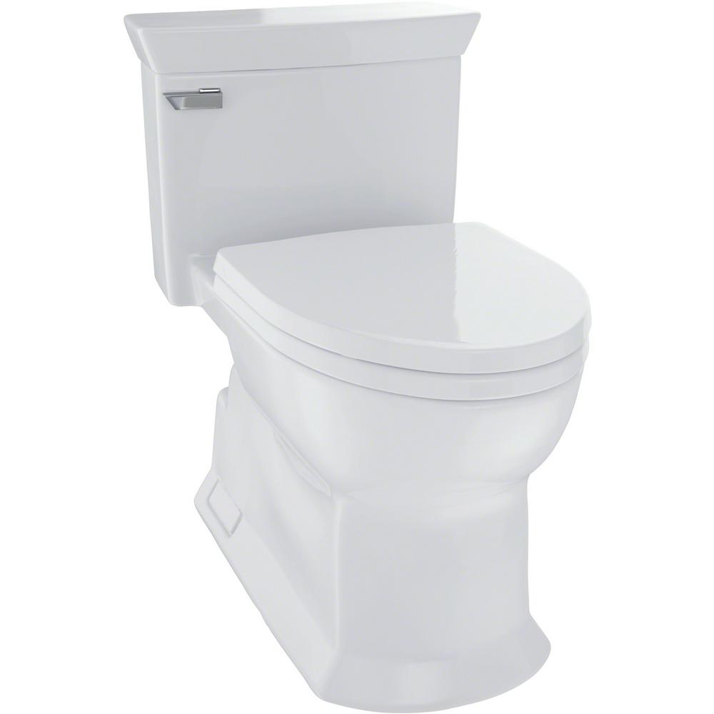 TOTO Eco Soiree 1-Piece 1.28 GPF Single Flush Elongated Skirted Toilet with CeFiONtect in Colonial White