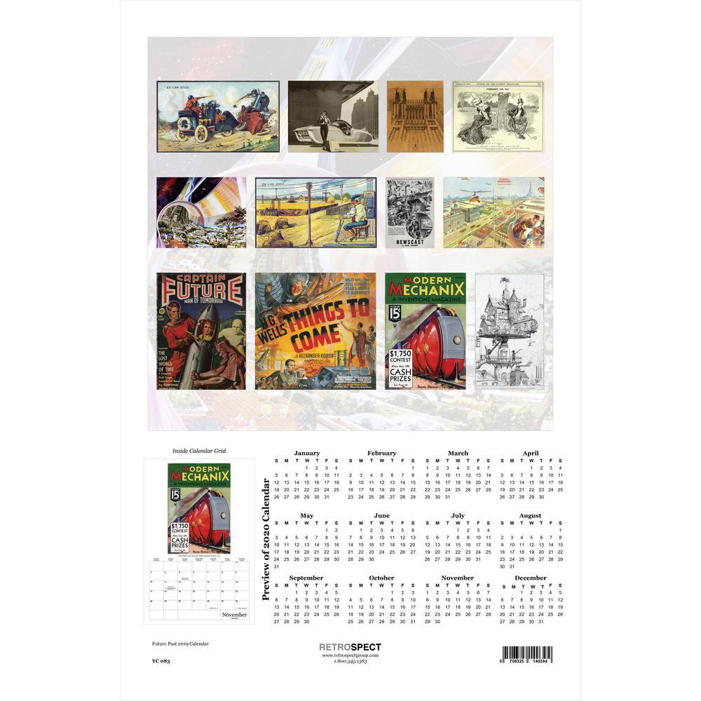 19 in. H x 12.5 in. W Vintage Future - 2019 Calendar