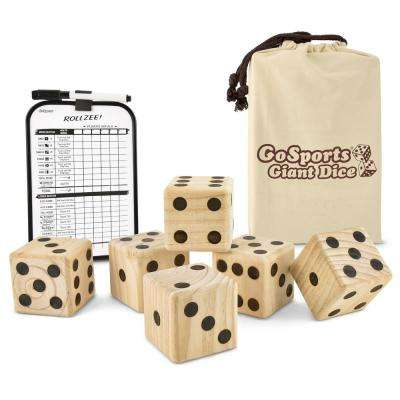 3.5 in. Giant Wooden Playing Dice Set with Bonus Rollzee Scoreboard