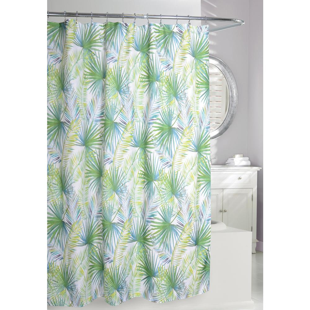 Palm Tree 71 in. Green and Taupe Fabric Shower Curtain-205087 - The ...