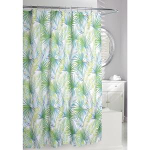 Palm Tree 71 inch Green and Taupe Fabric Shower Curtain by