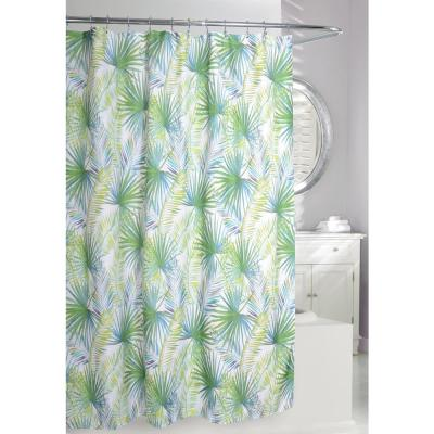 Palm Tree 71 in. Green and Taupe Fabric Shower Curtain