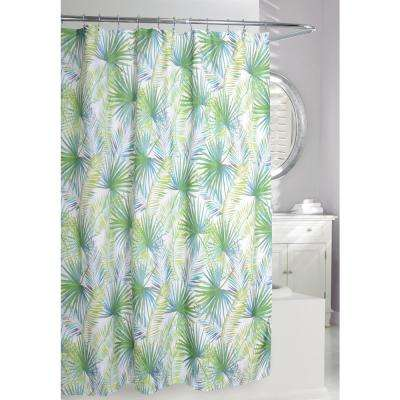 Green And Taupe Fabric Shower Curtain