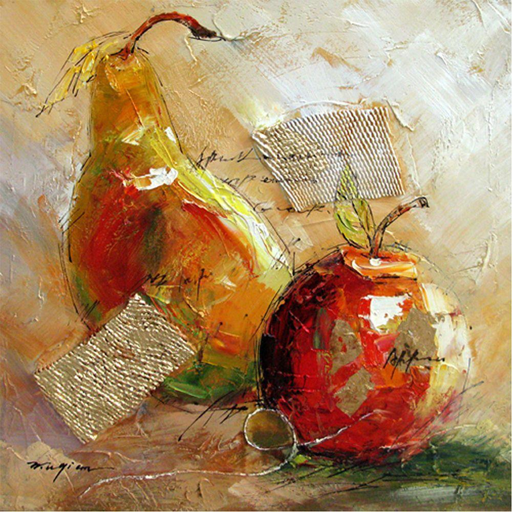 "Yosemite Home Decor 24 in. x 24 in. ""Pear and Apple Fusion"" Hand Painted Contemporary Artwork"