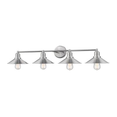 Cortez 4-Light Brushed Nickel Bath Light with Brushed Nickel Steel Shade