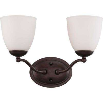 2-Light Prairie Bronze Vanity Fixture with Frosted Glass Shade